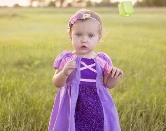 Rapunzel Tangled inspired peasant dress 4 4t-8 Custom Princess party dress up