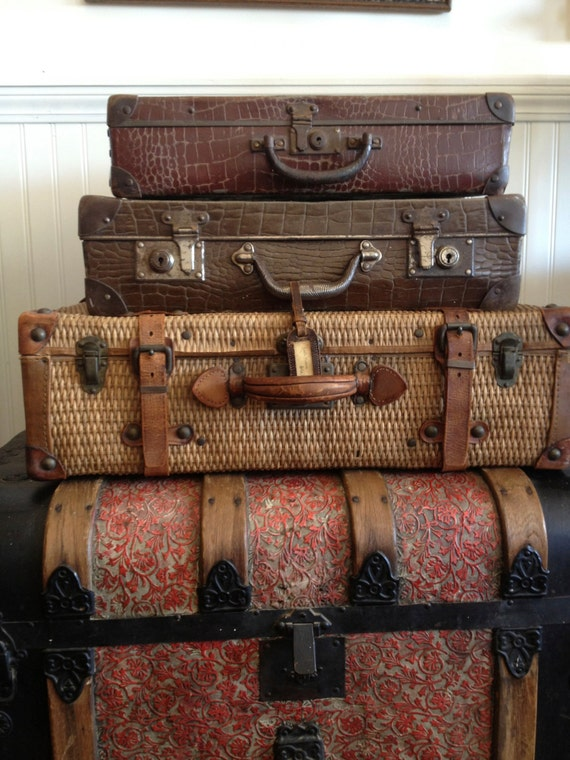 Antique Wicker And Leather Suitcase Luggage Belting Leather