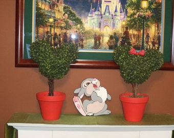 RESERVED Set of Mickey & Minnie Clay pot Topiary trees
