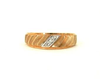 10K Gold Mens Ring set with 3 Diamond Retro Wedding Band size 10 1/2