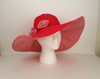 Derby Hat, Red Hatter, Wide Brim Hat, Sun Hat, Floppy Hat, Polka Dot, Stripes, Summer Hat, Woman's Hat, Ladies Hat