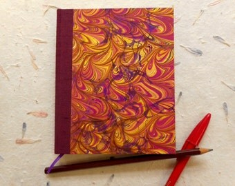 """Handmade blank book with hand-marbled covers: """"Intersecting Thoughts"""". Journal, Diary. Travel Notes. Writing"""