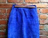 RESERVED Amazing ELECTRIC Blue Suede Mini Skirt S/M