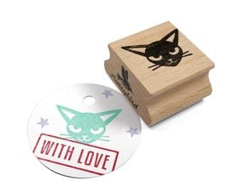 Cat stamp (head oriental shorthair cat)