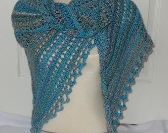 Crochet Aqua Blue/Light Grey Triangular Shawl - Ready to Ship