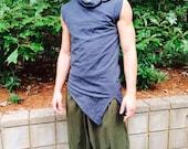 Pointy Top, organic hemp, men's vest, men's sleeveless, collar, Harmonic threads