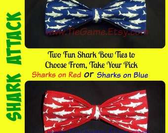 It's a Shark Attack - Show That You Are A Shark Amongst Fish With This Stylish Bow Tie - In Red or Blue, U.S. SHlPPING NEVER MORE Than 1.99