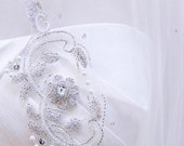 Two Tier Ivory Fingertip Statement Floral Motifs With Scallop Embroidered Pearl Crystal Bridal Veil Wedding Accessory