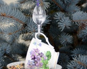 Tea Cup Bird Feeder with Hand Stamped Bent Spoon-NO SQUIRRELS ALLOWED- Perfect Holiday Gift
