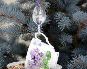 Teacup Bird Feeder with Hand Stamped Bent Spoon-NO SQUIRRELS ALLOWED- Perfect Holiday Gift