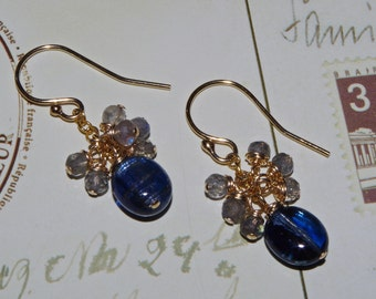 Kyanite and Labradorite 14K Gold Filled Earrings Polished Kyanite and Faceted Labradorite 14K Gold Filled Cluster Earrings