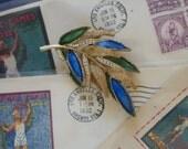 ART Enamel and Rhinestone Leaf Pin 50s Vintage