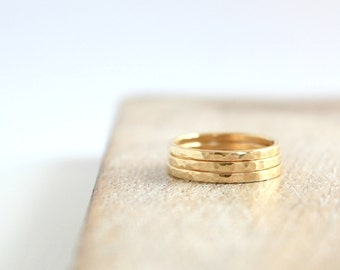 Minimalist Gold Brass Thin Band Ring Metal Layering Jewelry Hammered Stacking Ring - 1 Ring
