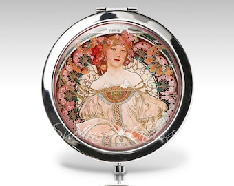 Personalized compact mirror, Art Deco, Art Nouveau, Alphonse Mucha, gift for woman, strawberry ice bridesmaid gift, bridal party gift C39