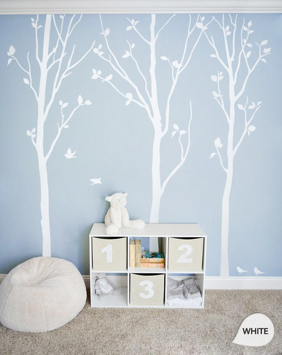 white tree wall decals white birch trees decal nursery wall. Black Bedroom Furniture Sets. Home Design Ideas