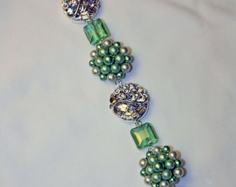 Glass Beads & Vintage Clip Earrings Christmas Decoration / Ornament