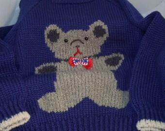Handknit Acrylic Bulky Teddy Bear Sweater