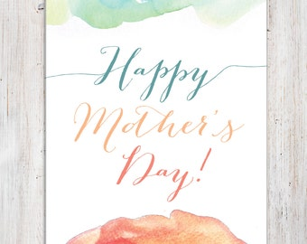 """Watercolour Mother's Day Card - 5x7"""" (Instant Download)"""