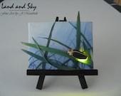 Original 2.5x3.5 LED Firefly Mini Mixed Media Painting by J. Mandrick