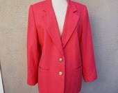 Vintage Pink Blazer with Gold Buttons // Hot Pink Blazer // Bright Pink Blazer // Large Blazer // Bright Blazer // Traditional Blazer