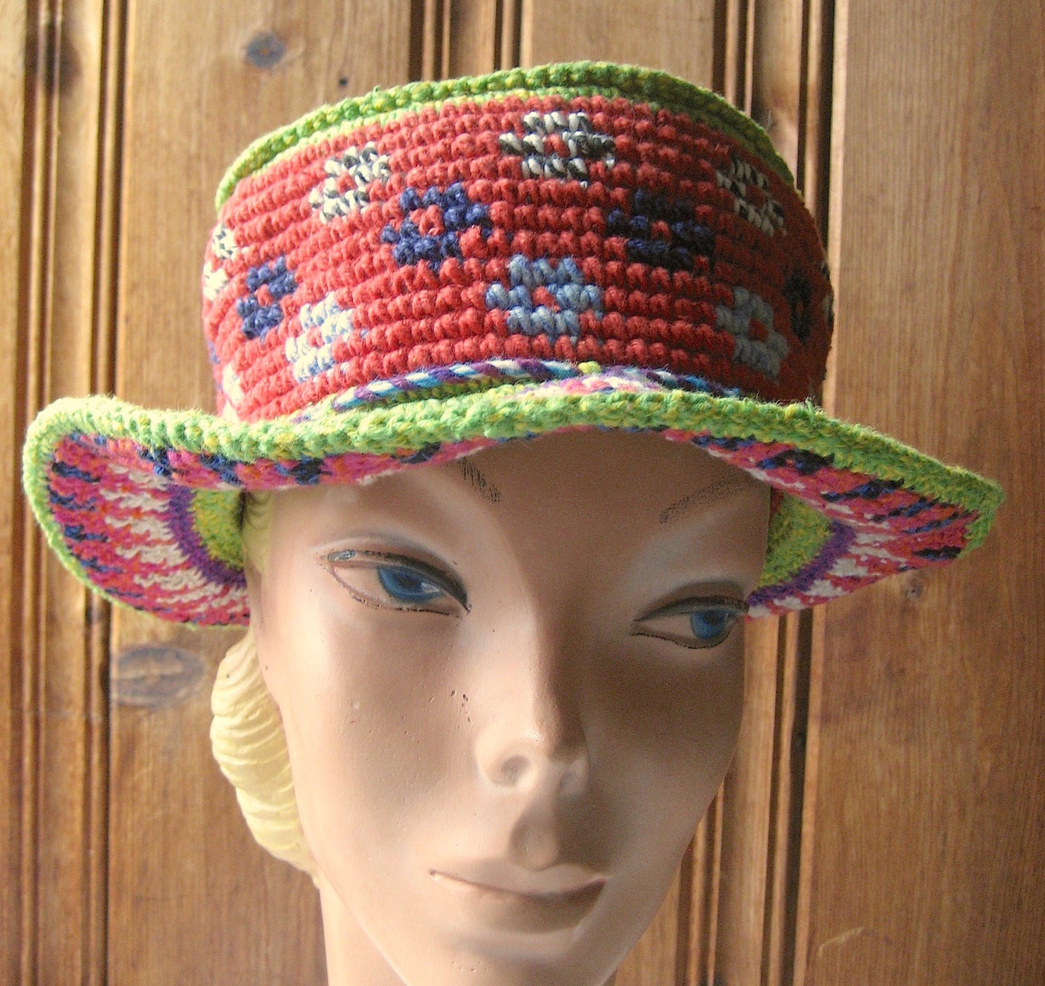 Crazy Crochet Hat: Crazy Cotton Crochet Hat Vintage Ladies' Heavy Knotted