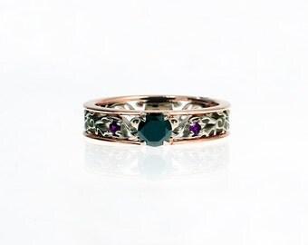 Black Diamond engagement ring, amethyst, filigree engagement, rose gold ring, white gold, purple gemstone ring, gothic engagement, amethyst