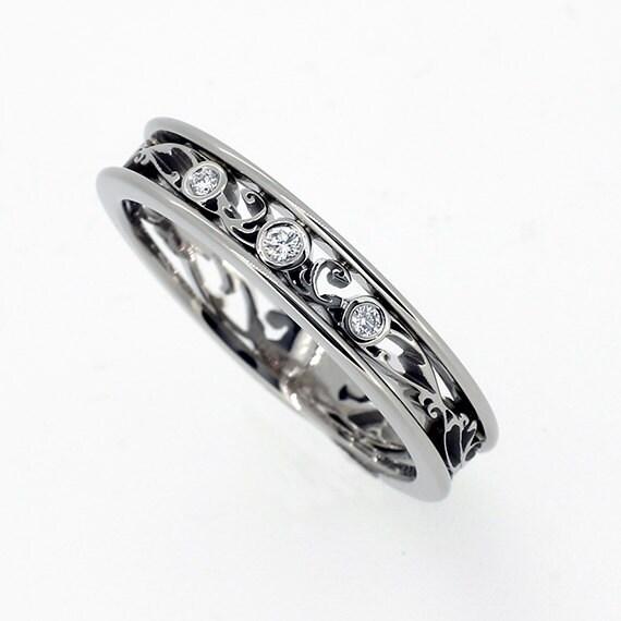 Thin Filigree ring White Gold wedding band Diamond ring