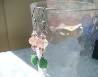 Pink Tourmaline and Green Jade Vintage Drop Dangle Earrings, Watermelon Pink Gemstone Earring, Silver Jewelry, Womens Jewelry