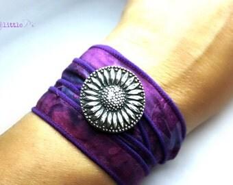Sunflower Jewelry, Vegan Wrap Bracelet, Cowgirl Sunflower Boho Silk Wrap, Boho Batik  Wrap Bracelet, Happy Jewelry