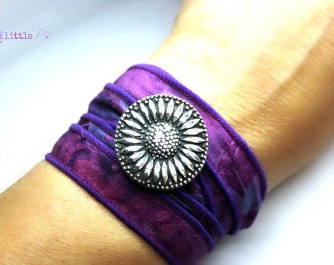Featured listing image: Sunflower Jewelry, Vegan Wrap Bracelet, Cowgirl Sunflower Boho Silk Wrap, Boho Batik  Wrap Bracelet, Happy Jewelry