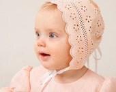 Baby girl hat baptism bonnet baby summer cap cotton lace kids natural accessories light salmon baby girl wedding sunbonnets rustic sun hat