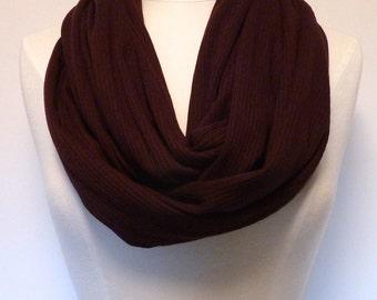 PLUM Infinity Scarf - Dark Purple Eternity Scarf - Jewel Tone - Ribbed Jersey Loop Scarf - Circle Scarf - Jersey Knit - Handmade