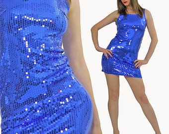 Blue Sequin dress Cocktail party mini deco Gatsby dress Open back sleeveless high neck dress Boho party mini dress small