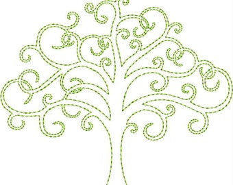 Pretty Tree of Life Machine Embroidery Design 4x4 5x7