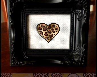 Leopard Heart Cross Stitch PDF Pattern - Immediate Download from Etsy - Sugar Stitch