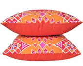 Two Orange Soleil LA Sunset Outdoor Pillow Cover with Orange Backing -- Trina Turk Fabric for Schumacher