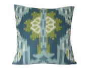 Blue and Green Kiribati Ikat Print Designer Schumacher Pillow Cover