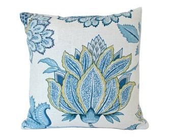 Designer Chartreuse and Dusk Blue Linen Pillow Cover