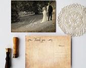 Thank you postcard with Vintage photo - Wedding thank you card postcard