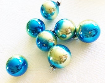 Vintage Shabby Chic Aqua Blue Glass Christmas Ornaments, Set of Seven, Romantic Home, Olives and Doves