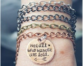 Not All Who Wander Are Lost Bracelet - Inspirational Quote Charm Bracelet - Arrow Jewelry - Arrow Bracelet - Copper Mixed Metals