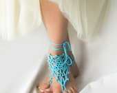 Turquoise Barefoot Sandles - Beach Wedding Sandals - Crochet Anklet Jewelry - Blue Nude Shoes