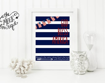 INSTANT DOWNLOAD, God Bless America, Patriotic Printable, Scripture, 4th of July, No. 504