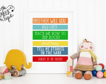INSTANT DOWNLOAD, Nursery or Playroom Digital Art Printable, Brothers, No. 17