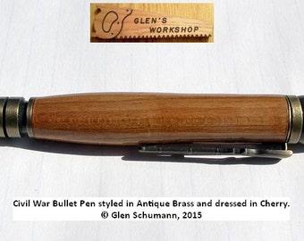 Civil War Bullet Pen Ballpoint Pen Antique Brass and Cherry Parker Pen