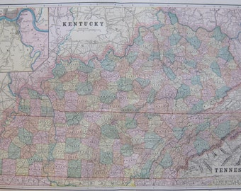 TENNESSEE Map KENTUCKY Map Antique Map Beautiful COLOR 1889 Vintage Map Gallery Wall Art  Plaindealing 5625