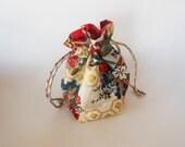 Drawstring Makeup Bag - Modern Flower Design - Japanese Fabric - Asian Fabric - Makeup Pouch - Cosmetic Bag - Cute Little Jewelry Bag