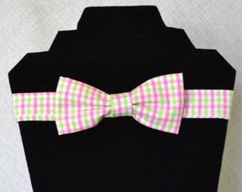 little boy bowtie, pink plaid bowtie, green plaid bowtie, baby bowtie, toddler bowtie, childs bowtie, pastel Easter bowtie, child Easter tie