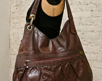 70s Huge Leather Hobo Bag - Great Everyday Style