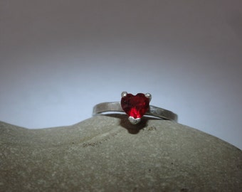 Heart Shape ruby CZ 925 Sterling Silver Solitaire Ring, heart silver ring,red heart ring
